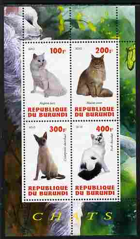 Burundi 2010 Cats #1 perf sheetlet containing 4 values unmounted mint
