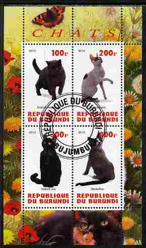 Burundi 2010 Cats #2 perf sheetlet containing 4 values fine cto used