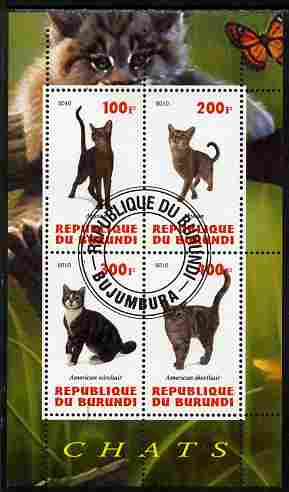 Burundi 2010 Cats #3 perf sheetlet containing 4 values fine cto used