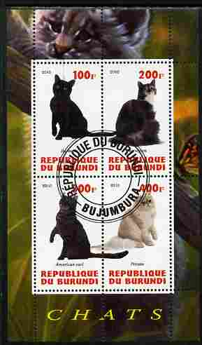 Burundi 2010 Cats #4 perf sheetlet containing 4 values fine cto used