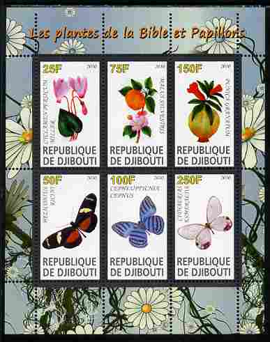 Djibouti 2010 Butterflies & Plants from the Bible #1 perf sheetlet containing 6 values unmounted mint