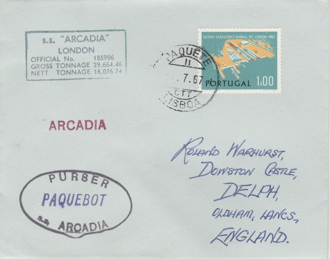 Portugal 1967 Paquebot cover to England carried on SS Arcadia with various paquebot and ships cachets