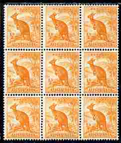 Australia 1948-56 Kangaroo 1/2d coil block of 9 SG 228c, stamps on animals, stamps on  kg6 , stamps on kangaroo