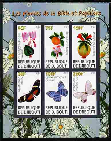 Djibouti 2010 Butterflies & Plants from the Bible #1 imperf sheetlet containing 6 values unmounted mint