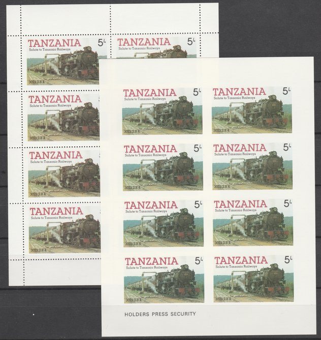 Tanzania 1985 Railways (1st Series) 5s value in complete imperf sheetlet of 8 plus perforated normal sheet, both unmounted mint as SG 430