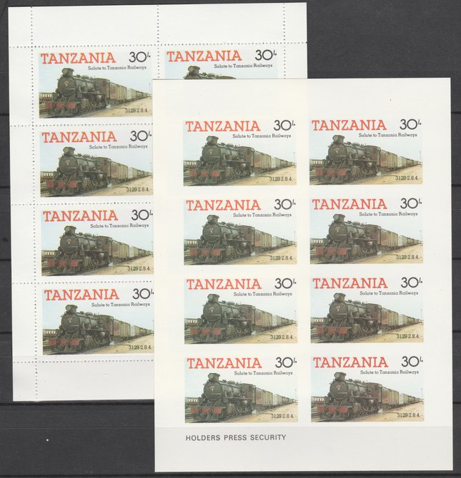 Tanzania 1985 Railways (1st Series) 30s value in complete imperf sheetlet of 8 plus perforated normal sheet, both unmounted mint as SG 433
