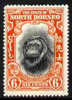 North Borneo 1931 50th Anniversary 6c Orang-Utan mounted mint, SG 296