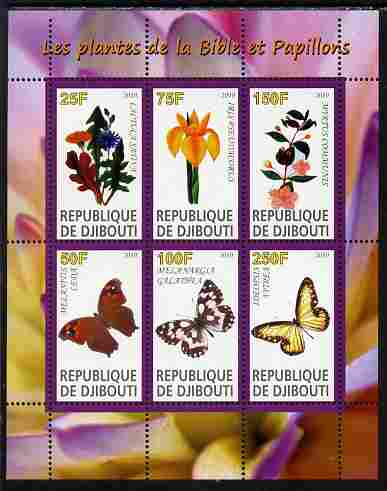 Djibouti 2010 Butterflies & Plants from the Bible #4 perf sheetlet containing 6 values unmounted mint