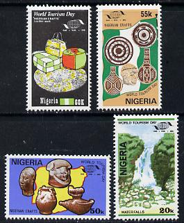 Nigeria 1985 World Tourism Day set of 4 (Waterfall, Pottery, Carving & Leather work) unmounted mint SG 502-505