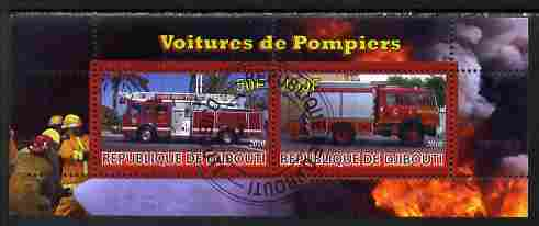 Djibouti 2010 Fire Engines #1 perf sheetlet containing 2 values fine cto used