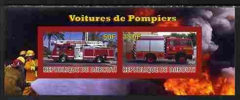 Djibouti 2010 Fire Engines #1 imperf sheetlet containing 2 values unmounted mint