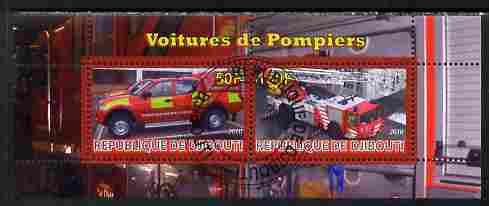 Djibouti 2010 Fire Engines #2 perf sheetlet containing 2 values fine cto used