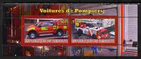 Djibouti 2010 Fire Engines #2 perf sheetlet containing 2 values unmounted mint