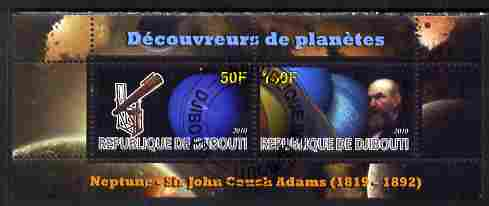 Djibouti 2010 Planets & Sir John Couch Adams perf sheetlet containing 2 values fine cto used