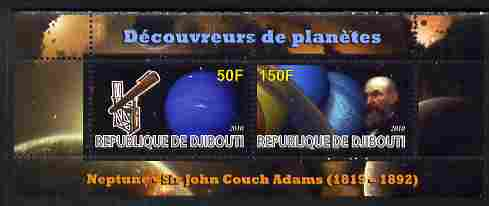 Djibouti 2010 Planets & Sir John Couch Adams perf sheetlet containing 2 values unmounted mint