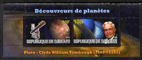 Djibouti 2010 Planets & Clyde William Tombaugh perf sheetlet containing 2 values unmounted mint