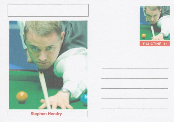 Palatine (Fantasy) Personalities - Stephen Hendry (snooker) postal stationery card unused and fine