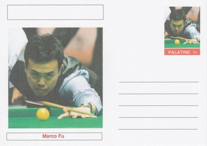 Palatine (Fantasy) Personalities - Marco Fu (snooker) postal stationery card unused and fine