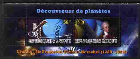 Djibouti 2010 Planets & Sir Frederich Herschel perf sheetlet containing 2 values fine cto used
