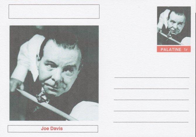 Palatine (Fantasy) Personalities - Joe Davis (snooker) postal stationery card unused and fine