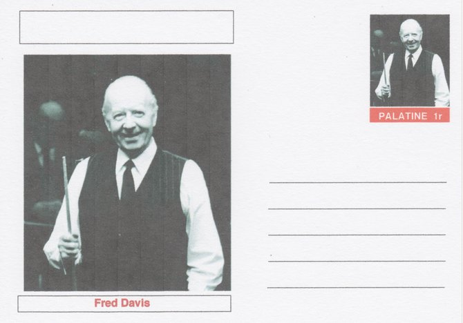 Palatine (Fantasy) Personalities - Fred Davis (snooker) postal stationery card unused and fine