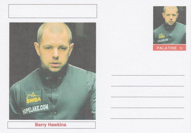 Palatine (Fantasy) Personalities - Barry Hawkins (snooker) postal stationery card unused and fine