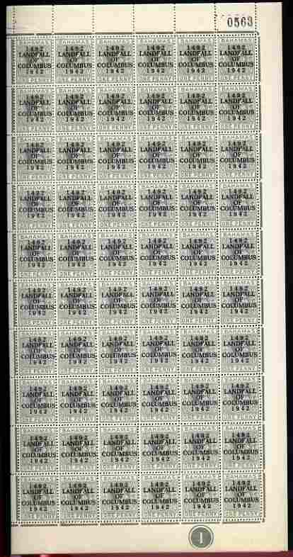 Bahamas 1942 KG6 Landfall of Columbus 1d pale slate complete right pane of 60 including plate varieties R10/4 (Damaged oval at 6 o