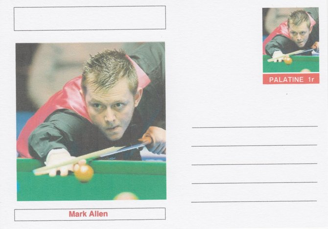 Palatine (Fantasy) Personalities - Mark Allen (snooker) postal stationery card unused and fine