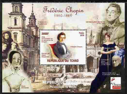 Chad 2010 200th Birth Anniversary of Chopin #1 perf souvenir sheet unmounted mint. Note this item is privately produced and is offered purely on its thematic appeal