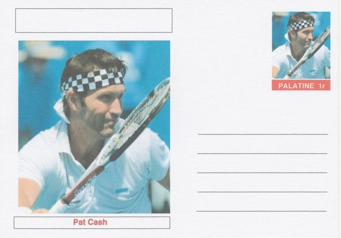 Palatine (Fantasy) Personalities - Pat Cash (tennis) postal stationery card unused and fine
