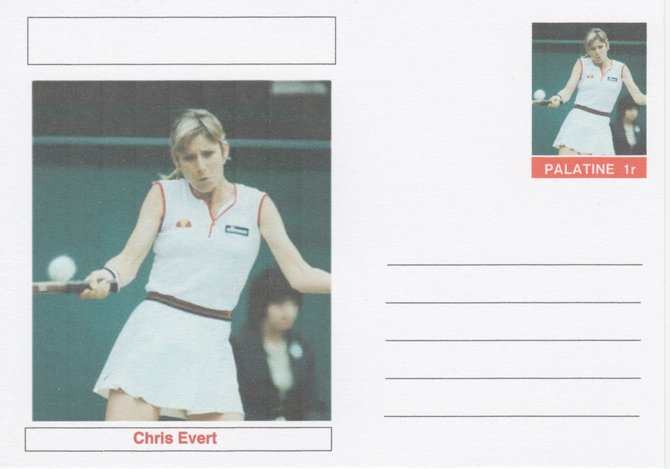 Palatine (Fantasy) Personalities - Chris Evert (tennis) postal stationery card unused and fine