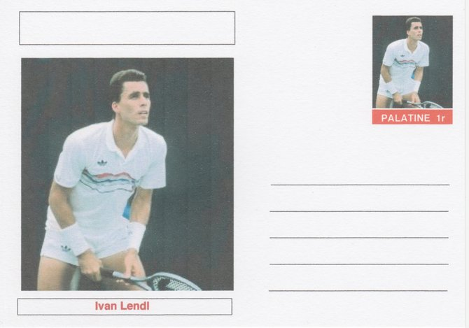 Palatine (Fantasy) Personalities - Ivan Lendl (tennis) postal stationery card unused and fine