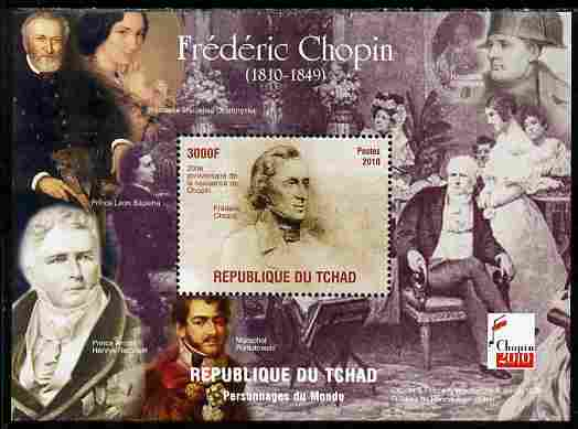 Chad 2010 200th Birth Anniversary of Chopin #3 perf souvenir sheet unmounted mint. Note this item is privately produced and is offered purely on its thematic appeal
