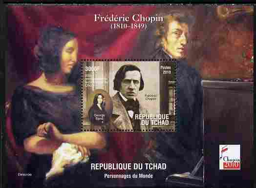 Chad 2010 200th Birth Anniversary of Chopin #4 perf souvenir sheet unmounted mint. Note this item is privately produced and is offered purely on its thematic appeal