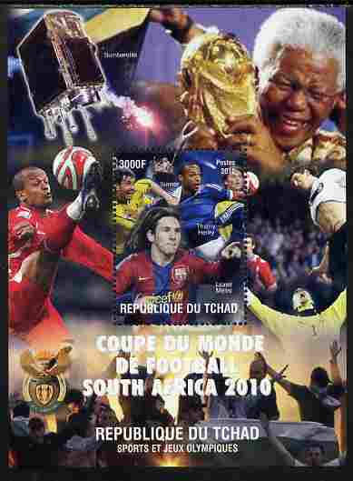 Chad 2010 Football World Cup & Nelson Mandela perf souvenir sheet unmounted mint. Note this item is privately produced and is offered purely on its thematic appeal