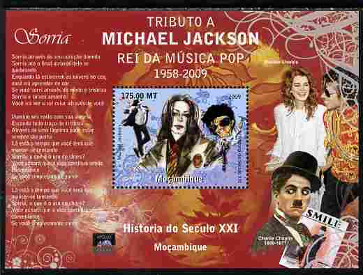 Mozambique 2010 Michael Jackson & Charlie Chaplin perf souvenir sheet unmounted mint. Note this item is privately produced and is offered purely on its thematic appeal