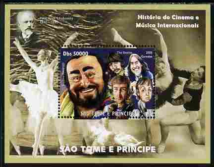 St Thomas & Prince Islands 2010 The Beatles & Pavarotti perf souvenir sheet unmounted mint. Note this item is privately produced and is offered purely on its thematic appeal
