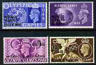 Morocco Agencies - Spanish Currency 1948 KG6 Olympic Games perf set of 4 unmounted mint, SG 178-81