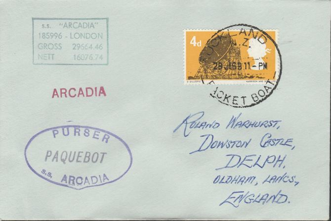 Great Britain used in Auckland (New Zealand) 1968 Paquebot cover to England carried on SS Arcadia with various paquebot and ships cachets