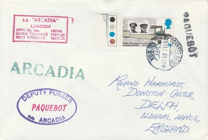 Great Britain used in Lisbon (Portugal) 1968 Paquebot cover to England carried on SS Arcadia with various paquebot and ships cachets