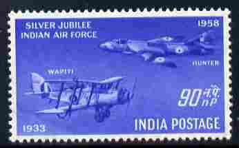 India 1958 Silver Jubilee of Indian Air Force 90np unmounted mint SG 398