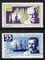 Rumania 1958 Racovita Commem (naturalist & explorer) set of 2 unmounted mint, SG 2597-98,  Mi 1731-32*