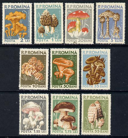 Rumania 1958 Mushrooms set of 10 unmounted mint, SG 2583-92, Mi 1721-30