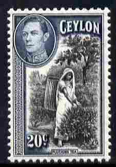 Ceylon 1938-49 KG6 Plucking Tea 20c unmounted mint, SG 391