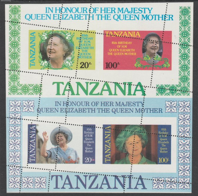 Tanzania 1985 Queen Mother the two m/sheets se-tenat from uncut archive sheet showing several oblique misplaced perforation strikes