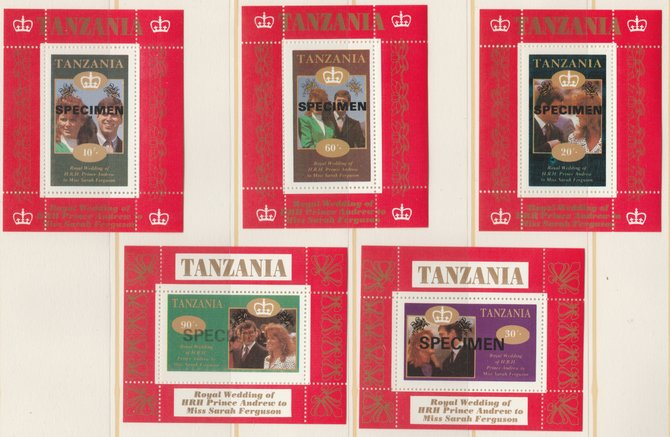 Tanzania 1986 Royal Wedding (Andrew & Fergie) the unissued individual perf deluxe sheets opt'd SPECIMEN (5 values only, 80s not available) unmounted mint