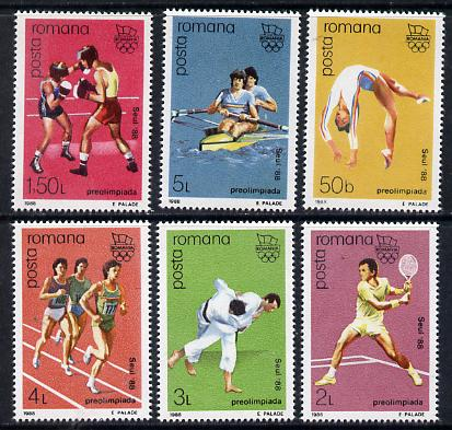 Rumania 1988 Olympic Games set of 6 (Gymnastics, Boxing, Tennis, Judo, Running, Rowing) unmounted mint Mi 4458-63