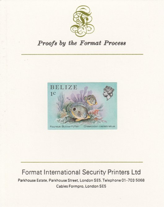 Belize 1984-88 Butterflyfish 1c def imperf proof mounted on Format International proof card as SG 766