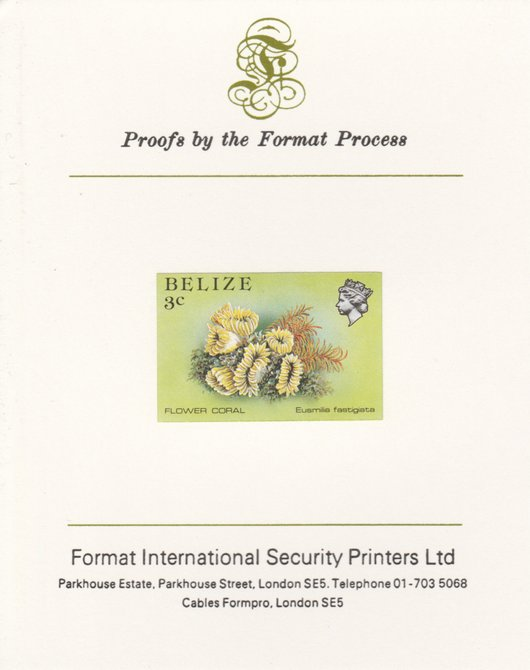Belize 1984-88 Flower Coral 3c def imperf proof mounted on Format International proof card as SG 768