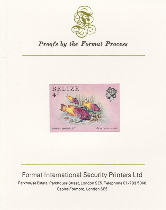 Belize 1984-88 Fairy Basslet 4c def imperf proof mounted on Format International proof card as SG 769